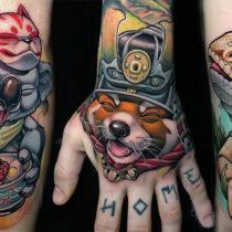 Tatuaż NewSchool męski, damski, czarno-biały, kolorowy, czarny, zwierzaki, lisa, panda, jaszczurki