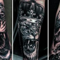 Styl Tatuaż Czarno Biały, Lew, Tygrys Sowa