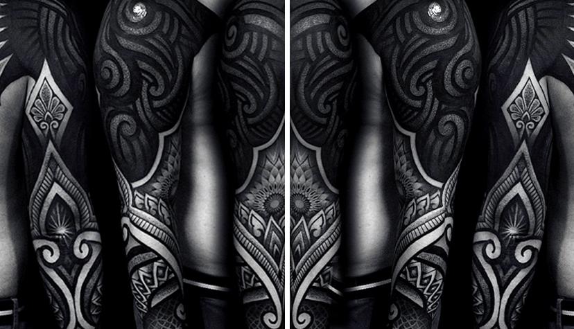 Tatuaż blackwork czarny rękaw