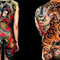 Tatuaż Japoński kostium maska kwiaty wąż, tygrys, sakura.