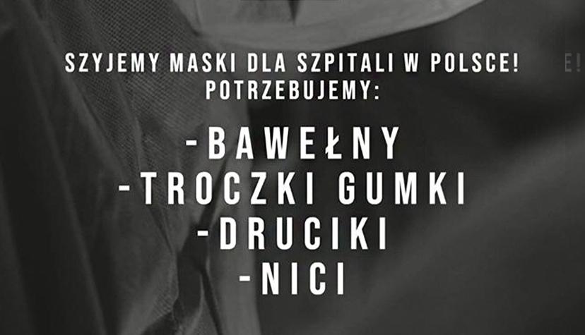 Tatuażyści szyją maseczki Napomoc Polskiej Służby Zdrowia wtrakcie Epidemii Koronawirusa.