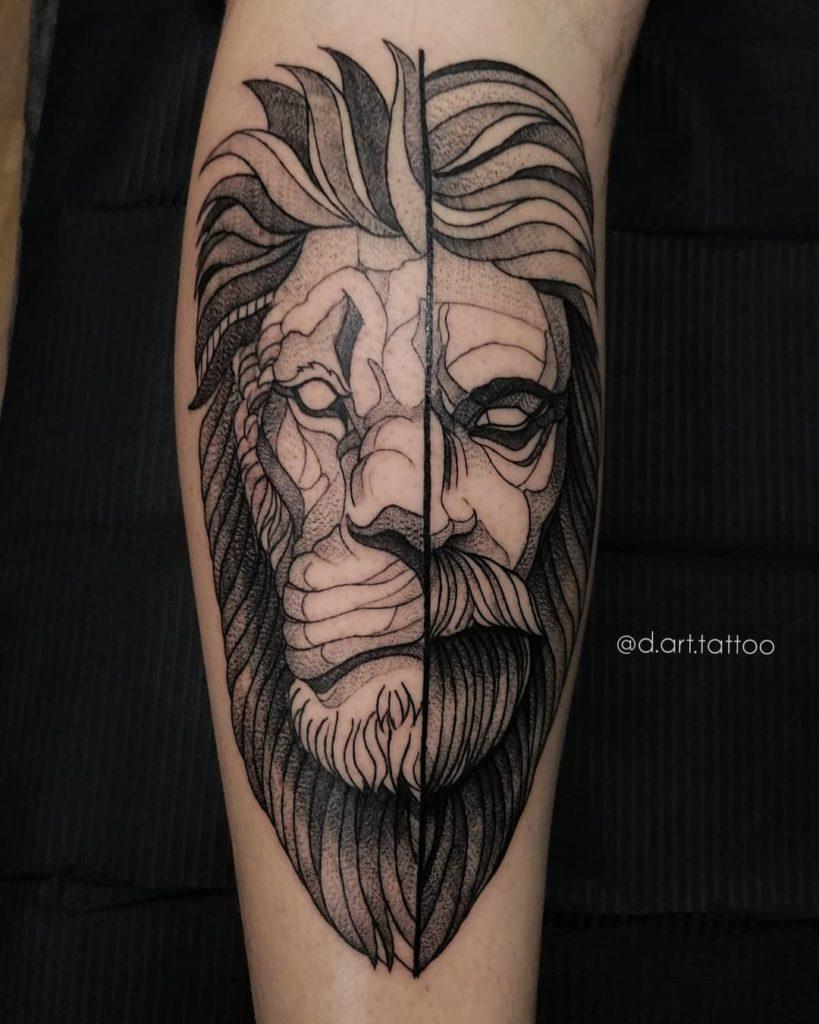Tatuaż głowa lwa podzielona izdrugiej strony Dziadek znaczenie dla mężczyzn ikobiet