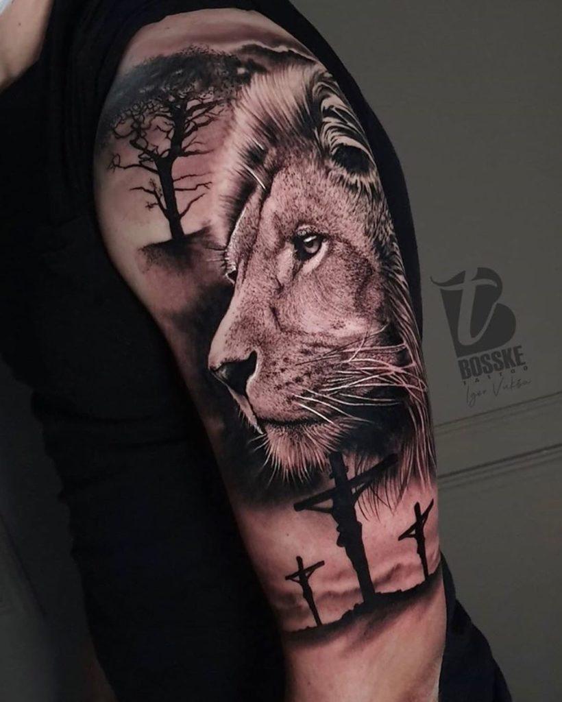Tatuaż głowa lwa zkrzyżem japońskim naramieniu znaczenie dla mężczyzn ikobiet