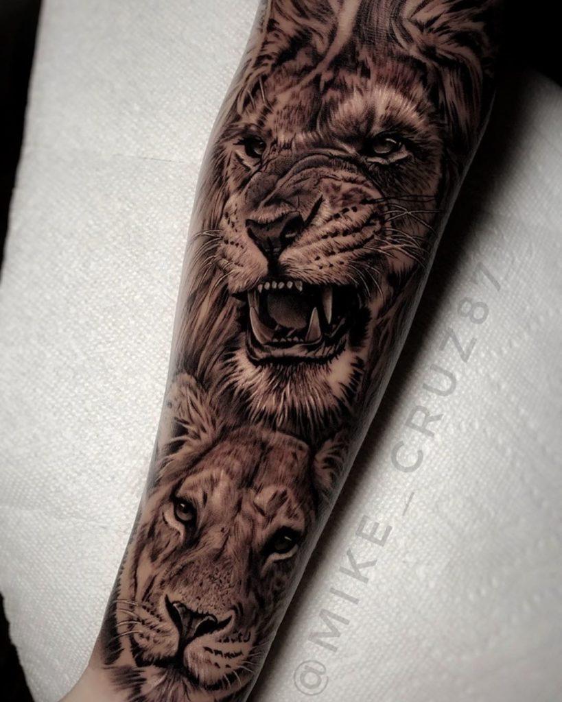 Tatuaż lew ilwica naprzedramieniu nawewnętrznej stronie znaczenie dla mężczyzn ikobiet