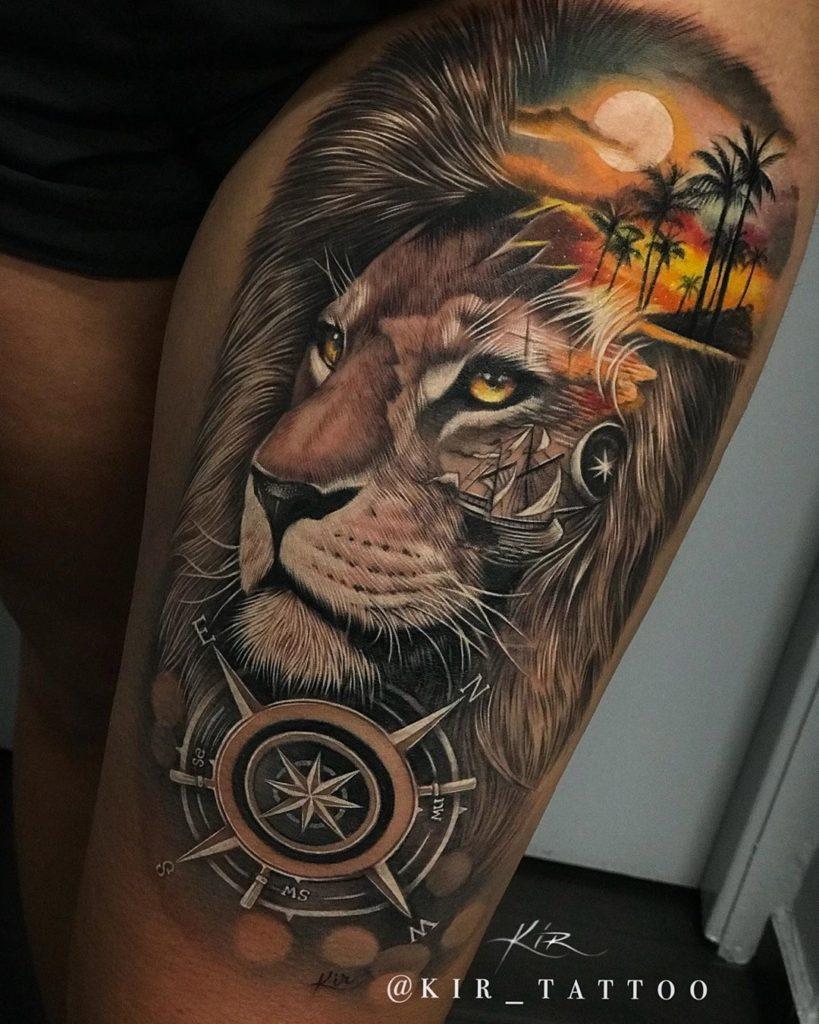 Tatuaż lwa zkosmosem iplaża zsłońcem naudzie znaczenie dla mężczyzn ikobiet