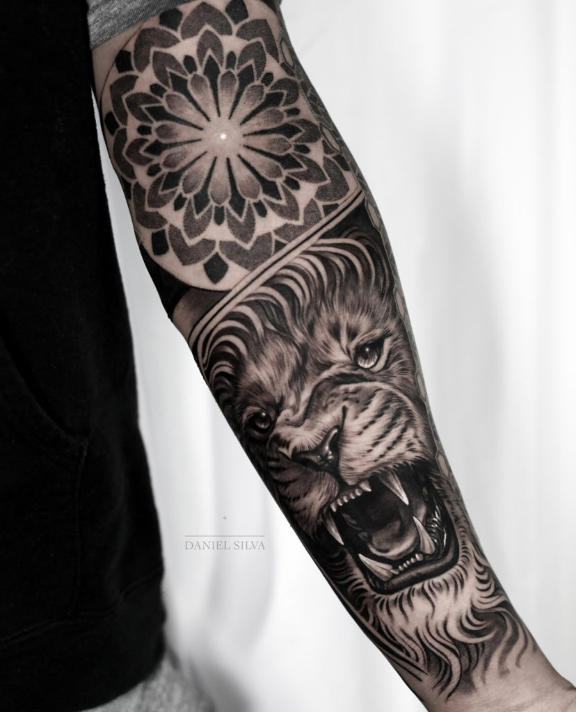 Tatuaż rękaw głowa lwa zmandala dotwork Znaczenie dla mężczyzn ikobiet
