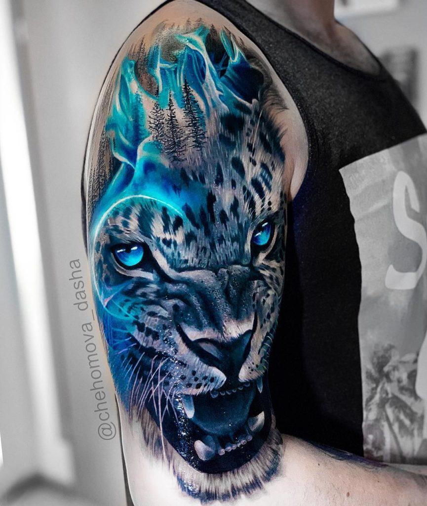 Tatuaż głowa białego tygrysa naramieniu dla mężczyzn ikobiet
