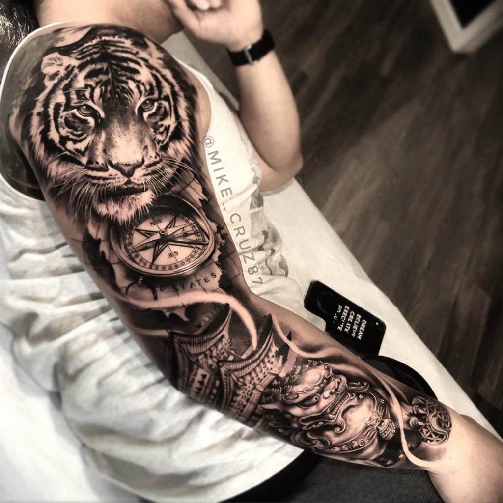 Tatuaż głowa tygrysa, zegarek, japoński naprzedramieniu, ramieniu, rękaw dla mężczyzn ikobiet