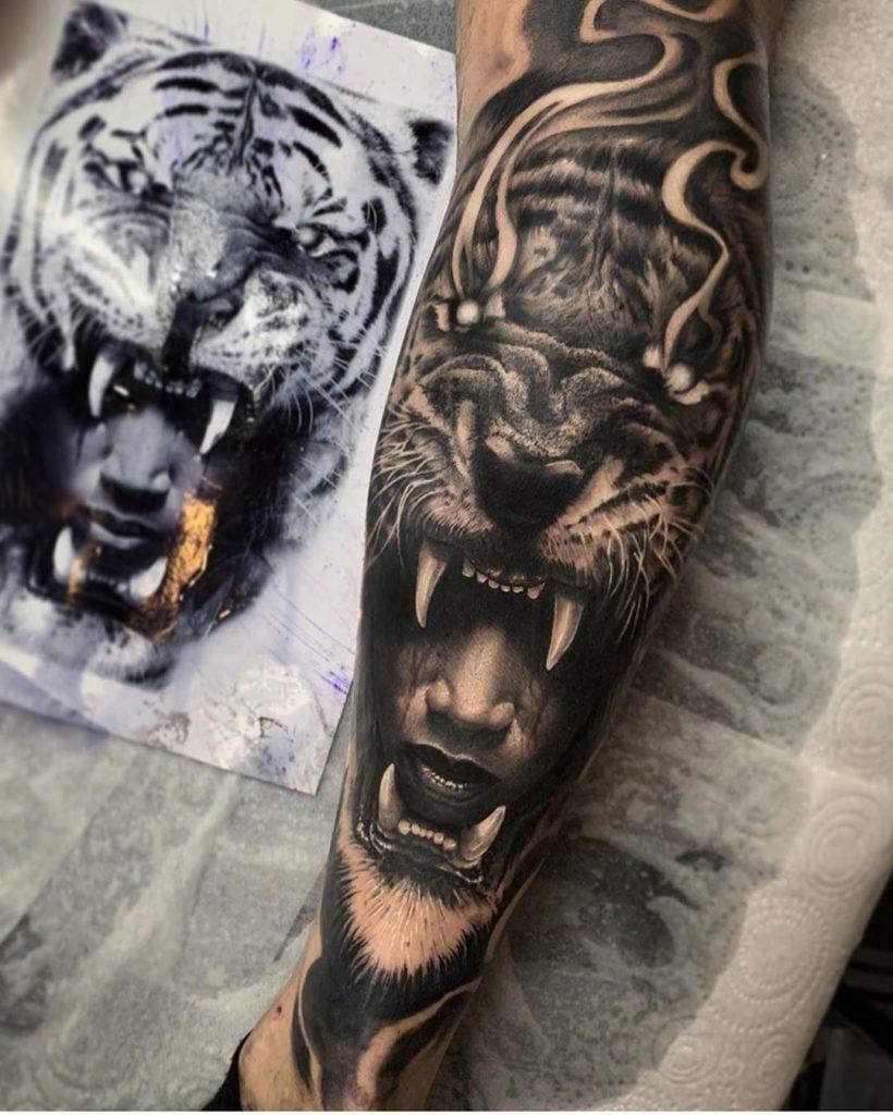 Tatuaż głowa złego tygrysa nanodze dla mężczyzn ikobiet