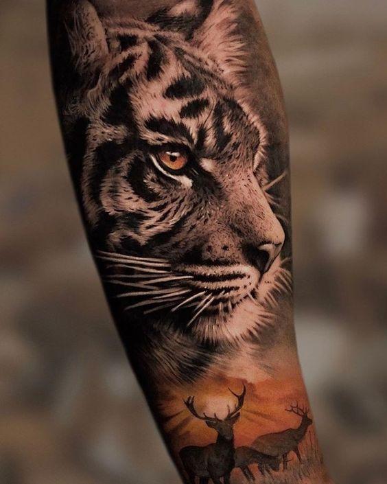 Tatuaż tygrys Afryka naprzedramieniu dla mężczyzn ikobiet